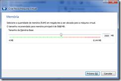Configuração de memória. Use ao menos 2500 MB (3500 MB recomendados).