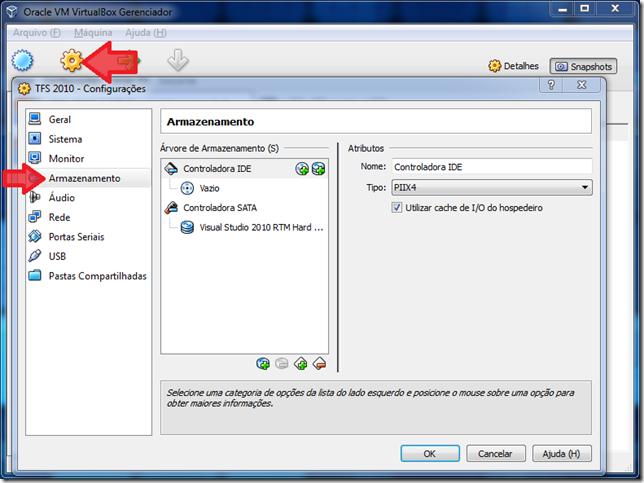 Janela de configurações. Clique em Armazenamento para alterar a controladora de SATA para IDE.