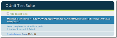 No browser, após rodar o teste