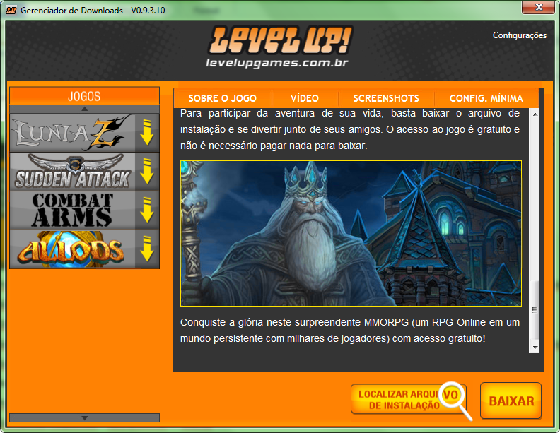 gerenciador de downloads level up baixaki