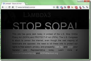 Site da Lambda3 em blackout contra a SOPA e PIPA