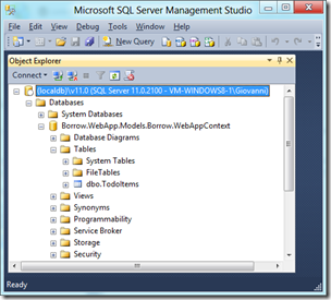 SQL Server 2012 Management Studio acessando LocalDB