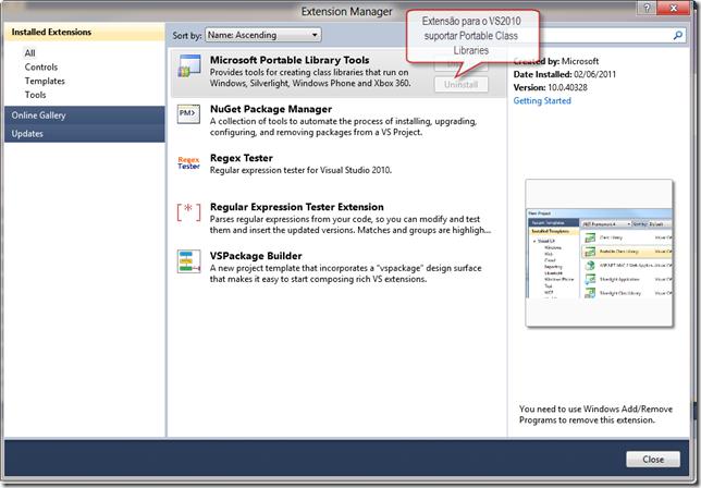 """Extensão """"Portable Library Tools"""" para criar Portable Class Libraries no VS2010"""