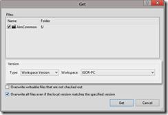 Caixa de diálogo Get Specific Version com a opção Workspace Version selecionada