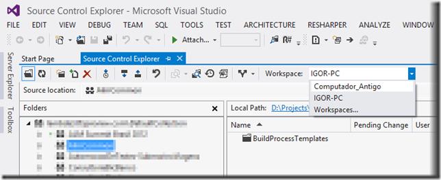 Seleção no espaço de trabalho ativo no Visual Studio