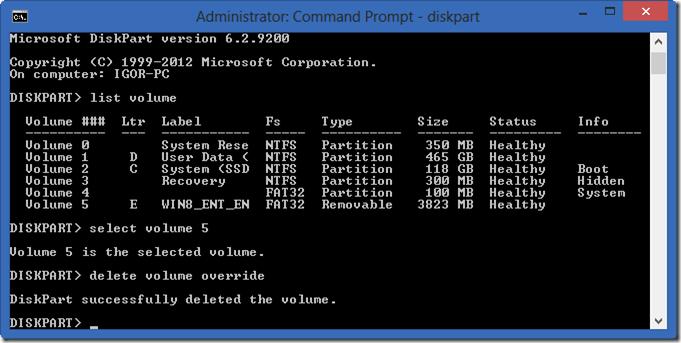 Diskpart: Select volume e Delete volume