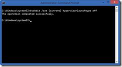 Desligando o hypervisor na opção padrão de boot do Windows