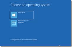 Tela de boot do Windows 8, mostrando as duas opções de boot depois de prontas