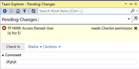 Source Control: não consigo fazer check in! E agora?