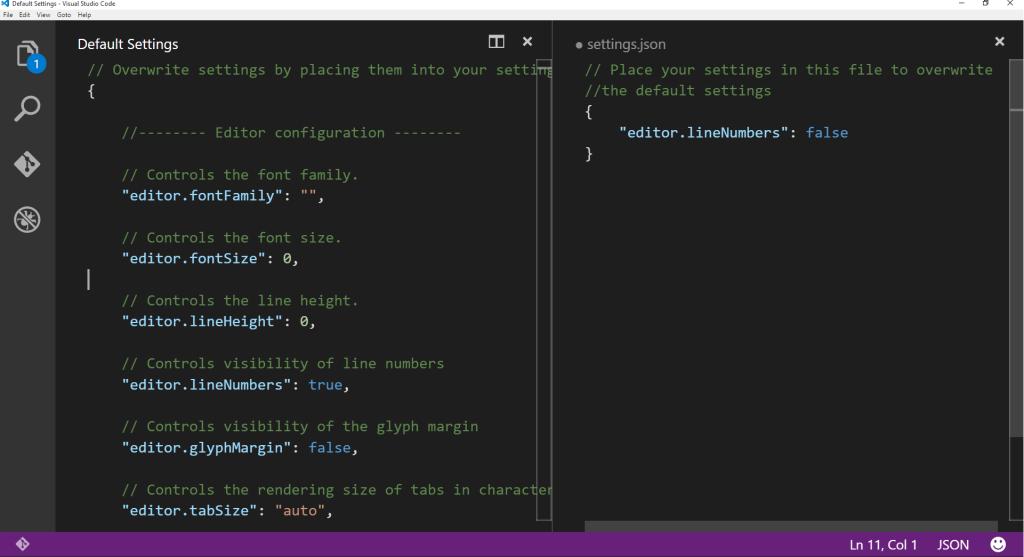 Figura 2 – Sobrescrevendo configuração editor.lineNumbers
