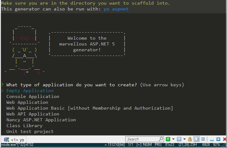 yo generator aspnet empty application