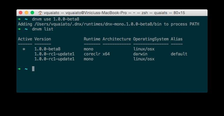 Trocando versões do .NET com DNVM
