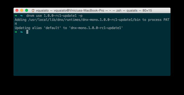 Definindo versão padrão do .NET com DNVM