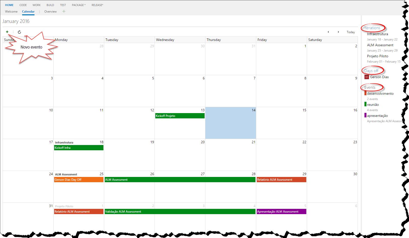 Organização do calendário do time