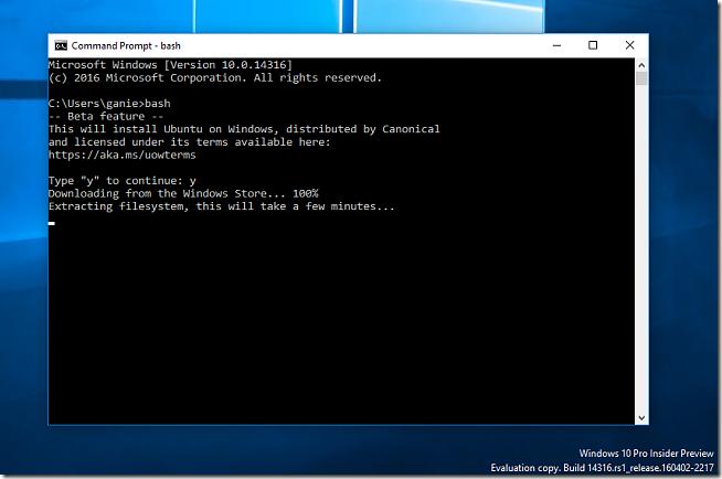 Instalando o Bash on Windows no Windows 10 Insider Preview