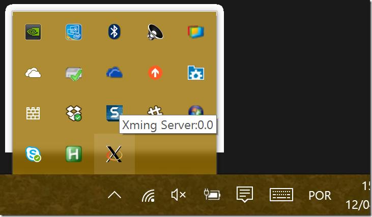 Xming rodando na bandeja de sistema do Windows