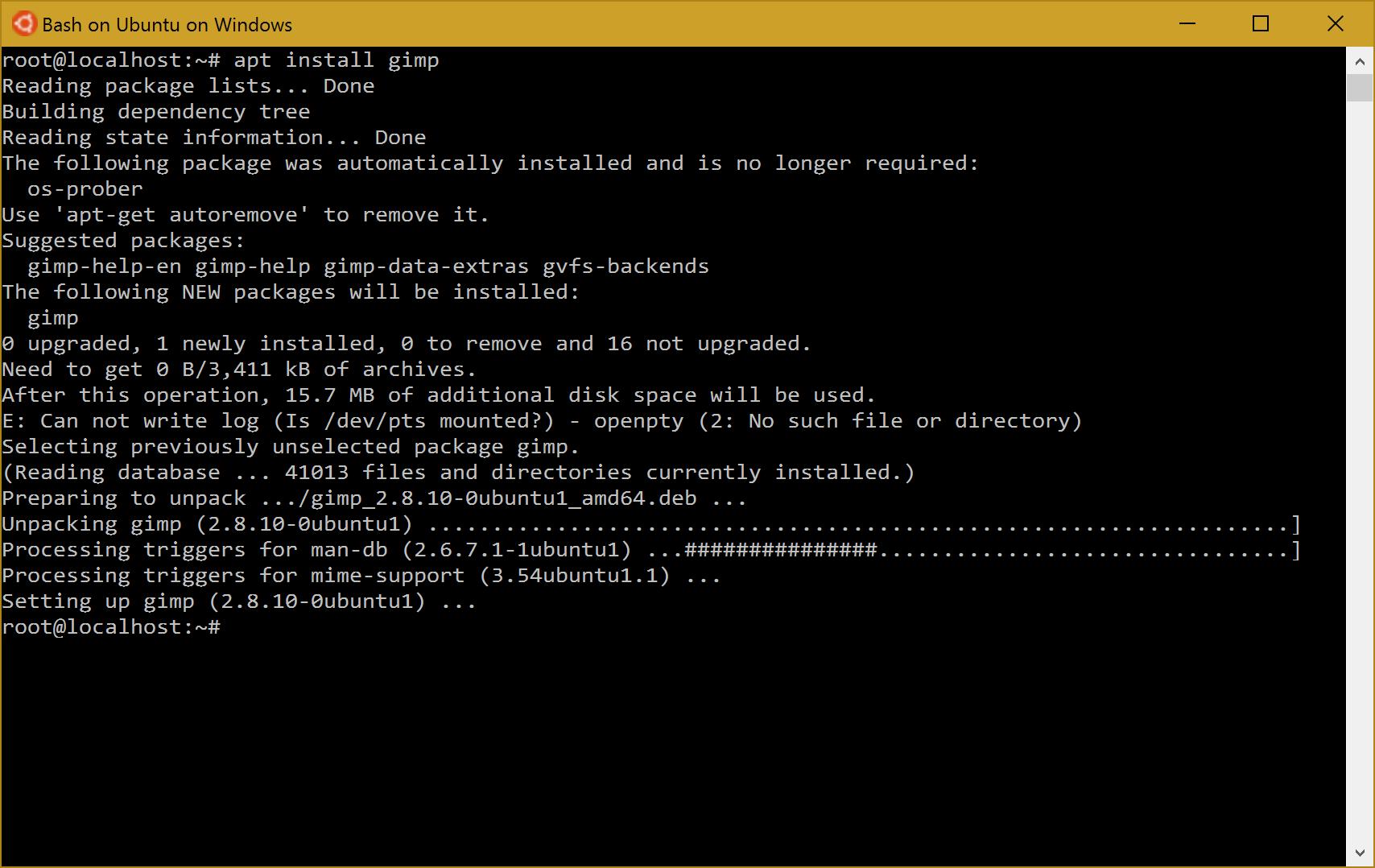 Instalando o gimp no Bash on Windows