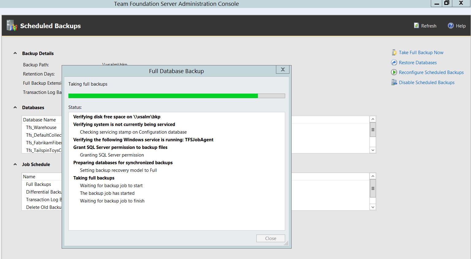 Monitorando um backup full na base de dados do Team Foudation Server