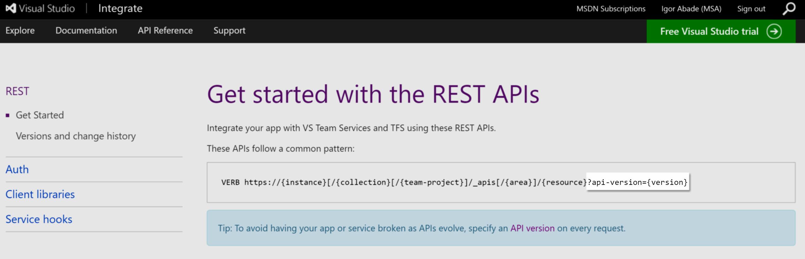 Entenda o versionamento da API REST do TFS