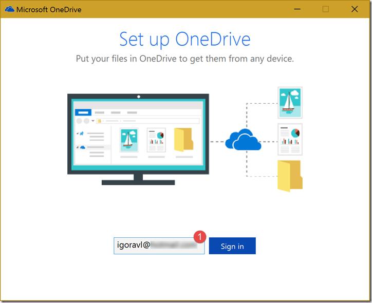 Janela inicial de configuração do OneDrive. Informe o e-mail da sua Conta Microsoft (1)