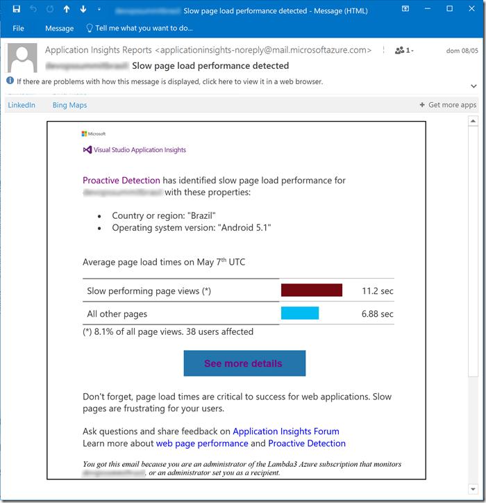 E-mail de notificação da detecção proativa