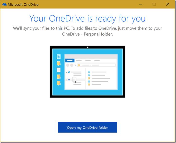 Janela de conclusão da instalação do OneDrive Pessoal