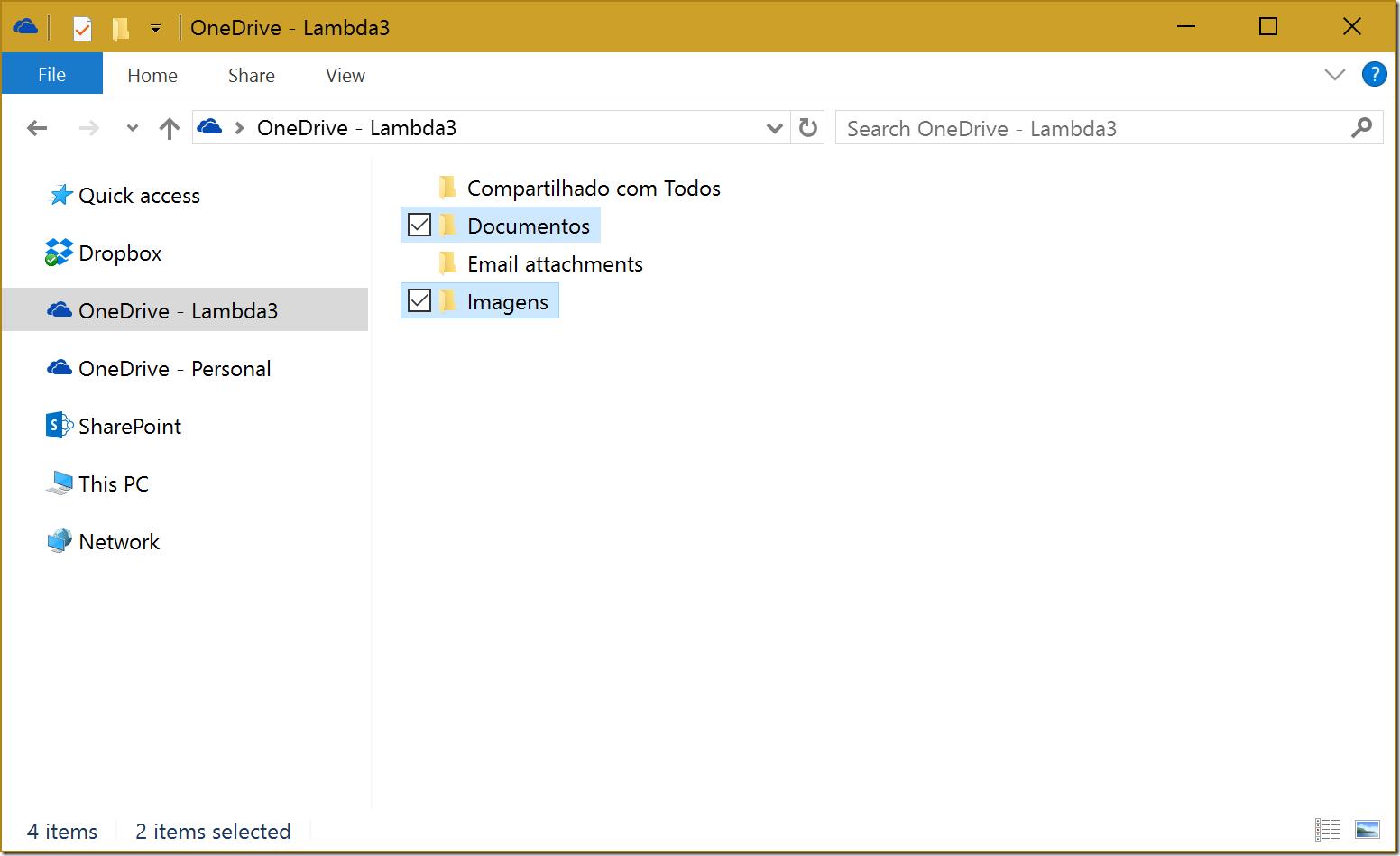 OneDrive for Business com dois novos subdiretórios, Documentos e Imagens, onde iremos sincronizar nossos arquivos