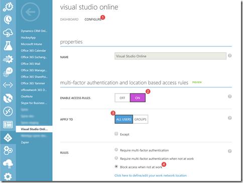 Configurando o Azure AD para impedir logon fora da rede corporativa