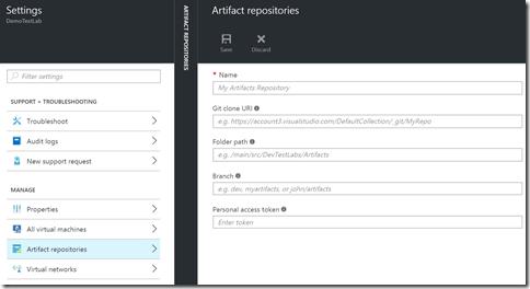 Tela de configuração de um repositório de artefatos (conjunto de ARM Templates) baseado em um repositório Git remoto