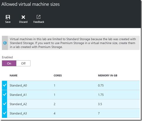 Tela de configuração de tamanhos de VMs