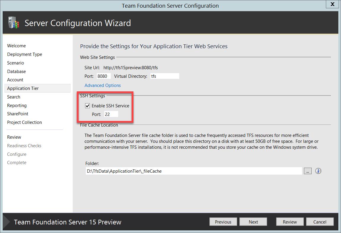 """TFS """"15"""" Preview Wizard - Configuração SSH"""
