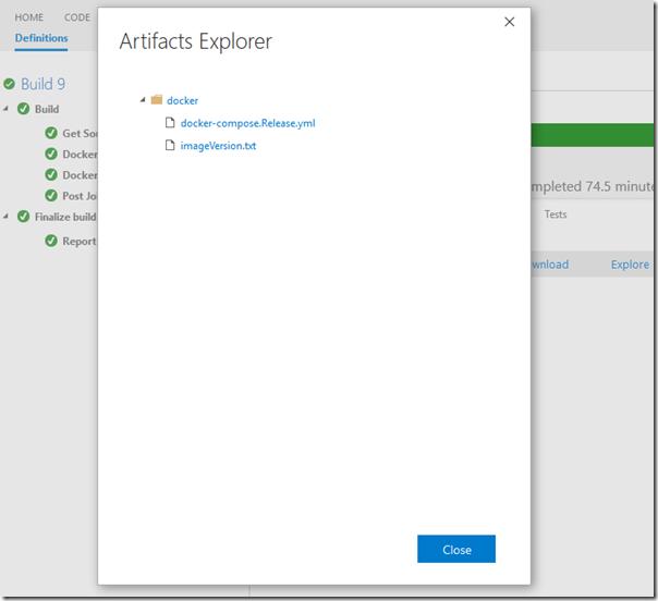 Artefatos da Build mostrando uma pasta docker e o arquivo de compose e outro com a versão compilada.