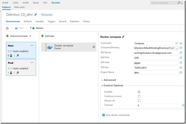 Release configurada com 2 environment e a task Docker