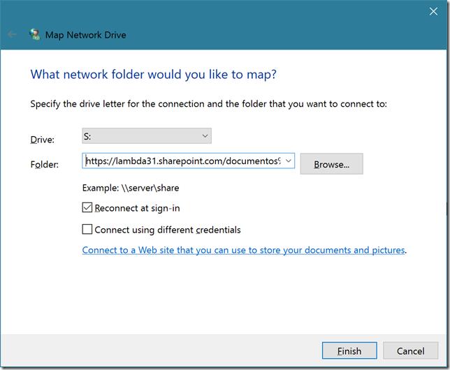 Você pode mapear a pasta SharePoint a uma letra de unidade para simplificar o acesso