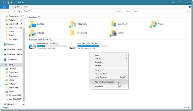 """Clique com o botão direito em uma área em branco do File Explorer e selecione """"Add a network location"""""""