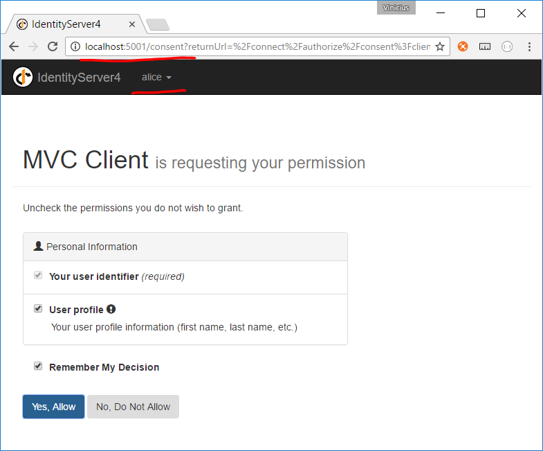 servidor identityserver4 exibindo tela de consent após login