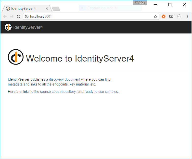 servidor identityserver4 rodando
