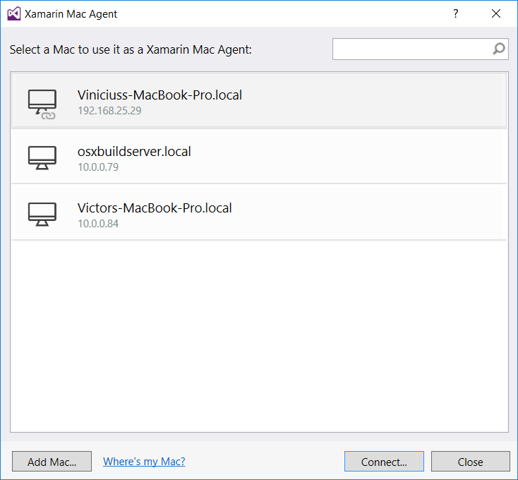 Xamarin Mac Agent no Visual Studio