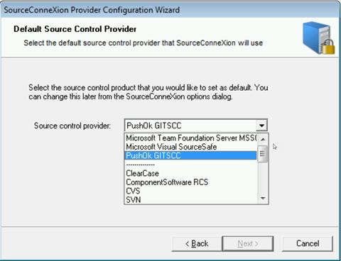 """Caixa de diálogo """"Provider Configuration"""" do SourceConneXion, listando os provedores MSSCCI disponíveis"""
