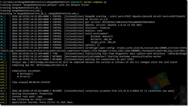 Console mostrando o log do docker compose up