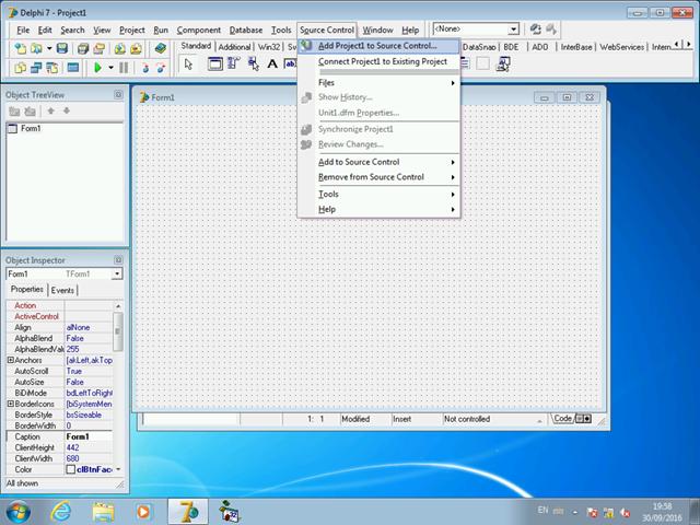 Adicionando um projeto Delphi pela primeira vez a um repositório TFVC