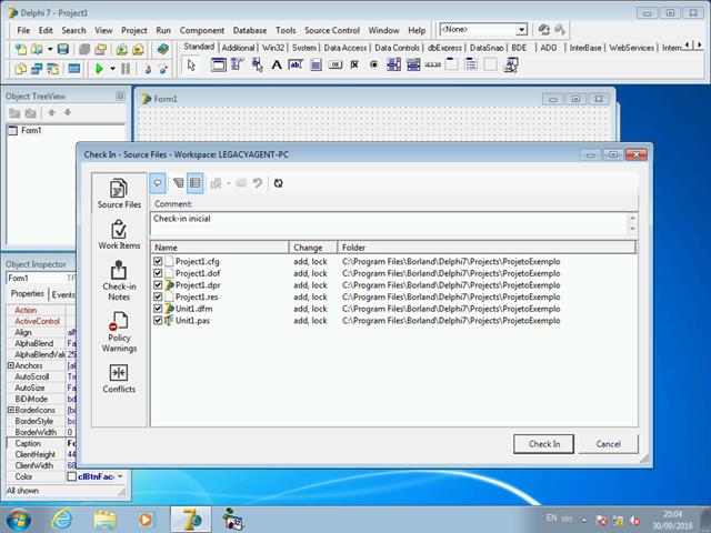 Caixa de diálogo padrão de check-in do TFS