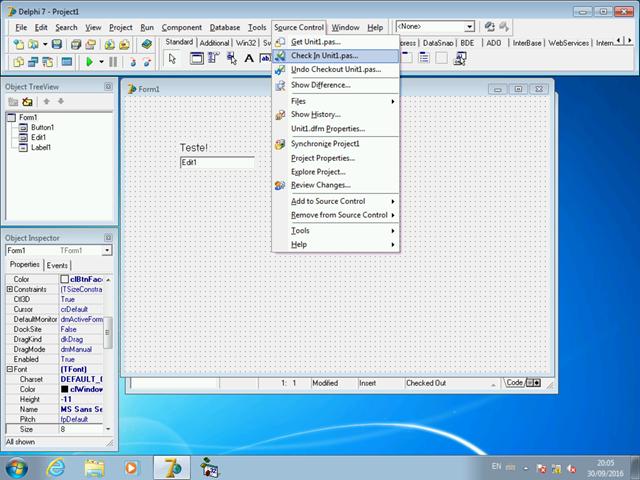 Menu Source Control com os comandos de integração com o TFS