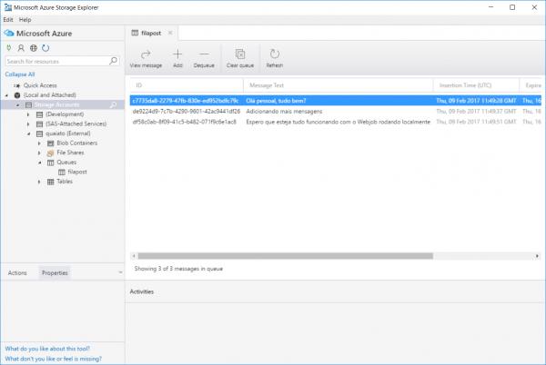 Azure Storage Explorer Fila com mensagens