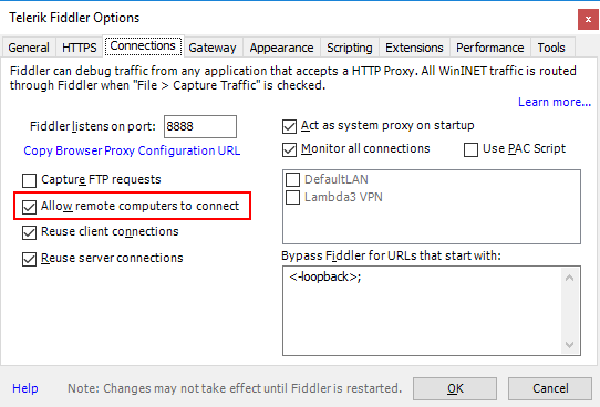 Allow Remote Connections Checkbox