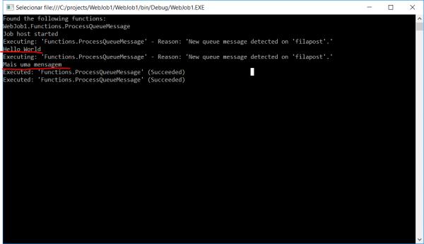Azure WebJob executando local