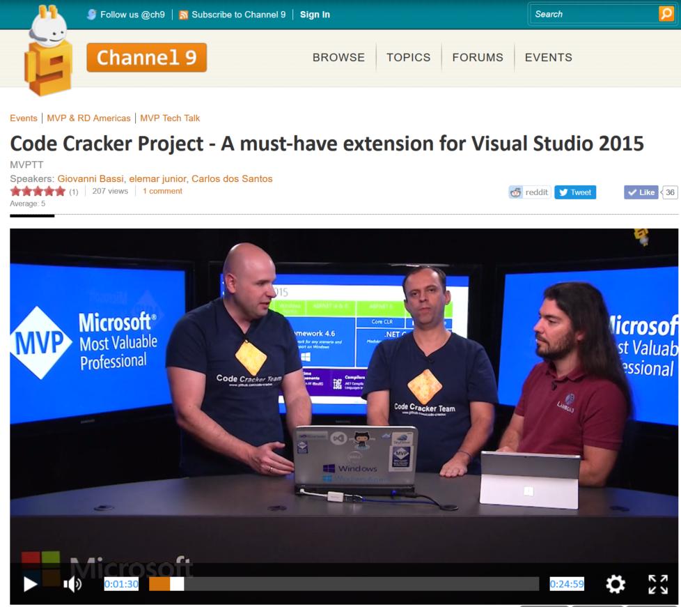 Apresentando o projeto CodeCracker no Channel9 em português