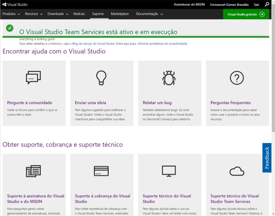 Status do serviço do Visual Studio Team Services, ou VSTS