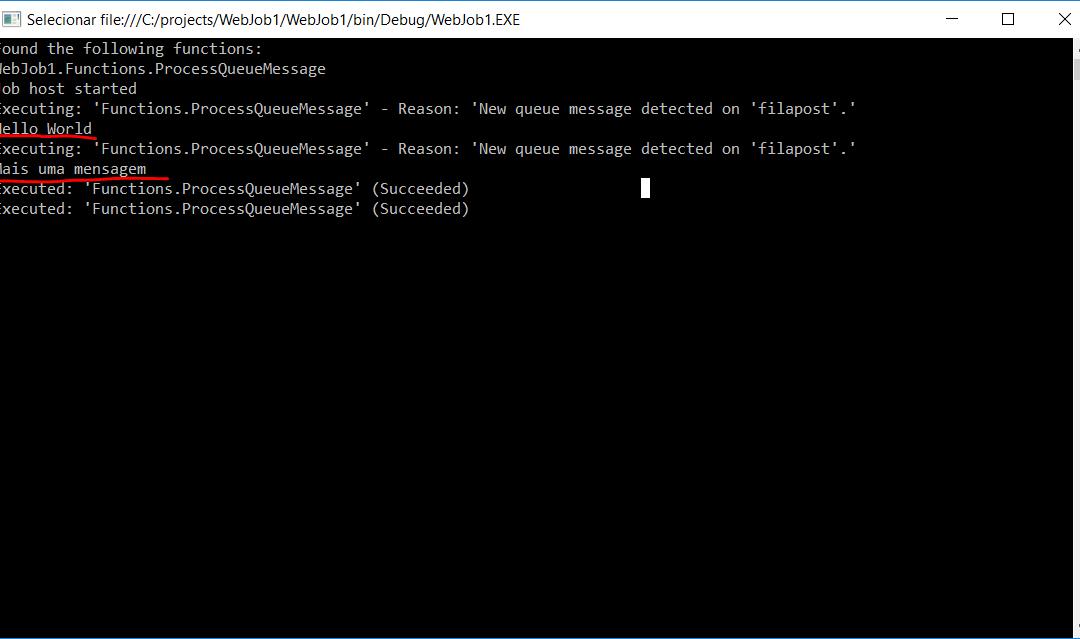 Rodando e testando Azure WebJobs localmente