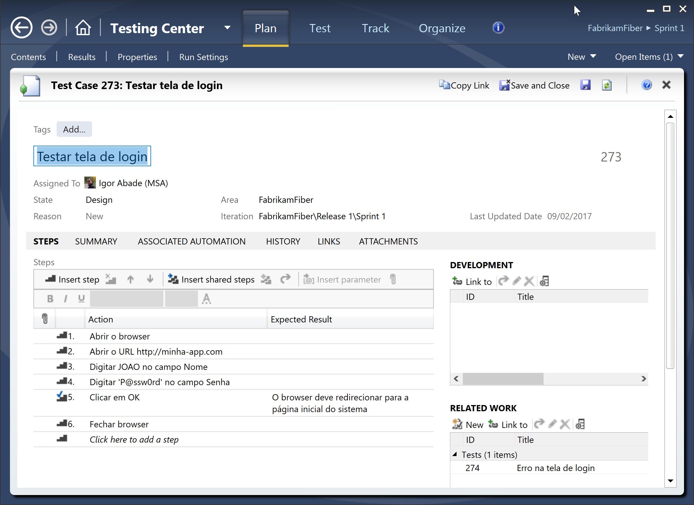 Criando um caso de test no Microsoft Test Manager